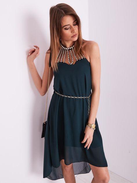 Ciemnozielona sukienka z aplikacją                              zdj.                              3