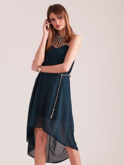 SCANDEZZA Ciemnozielona sukienka z aplikacją                              zdj.                              4