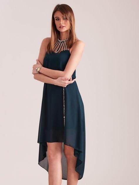 Ciemnozielona sukienka z aplikacją                              zdj.                              7