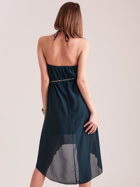 SCANDEZZA Ciemnozielona sukienka z aplikacją                              zdj.                              3