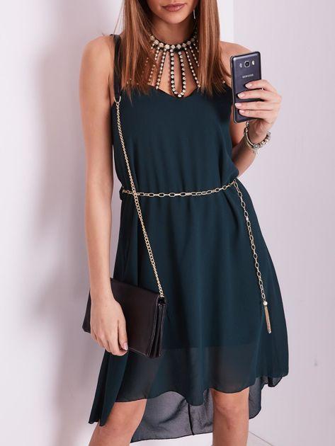 Ciemnozielona sukienka z aplikacją                              zdj.                              2