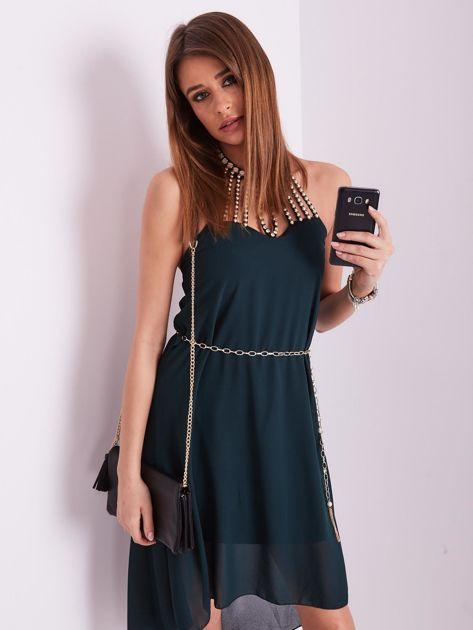 Ciemnozielona sukienka z aplikacją                              zdj.                              8