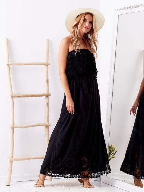 Czarna sukienka maxi z dekoltem carmen                              zdj.                              4