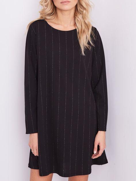 SCANDEZZA Czarna sukienka o luźnym kroju                              zdj.                              2