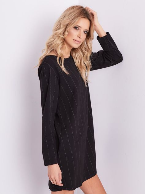 SCANDEZZA Czarna sukienka o luźnym kroju                              zdj.                              6