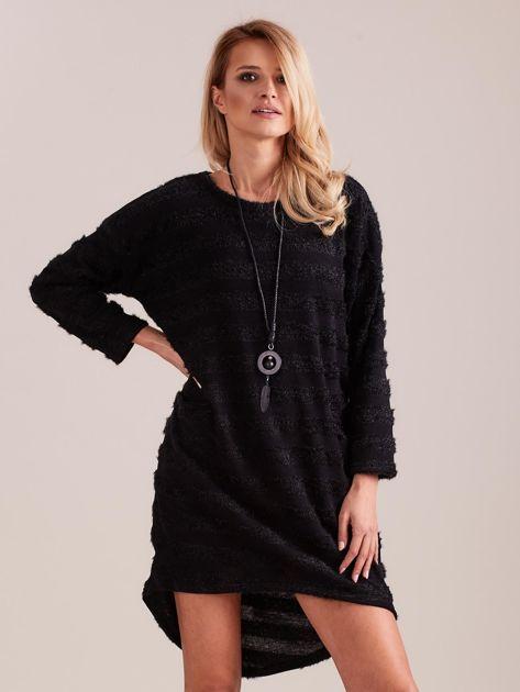 Czarna sukienka w paski                              zdj.                              3