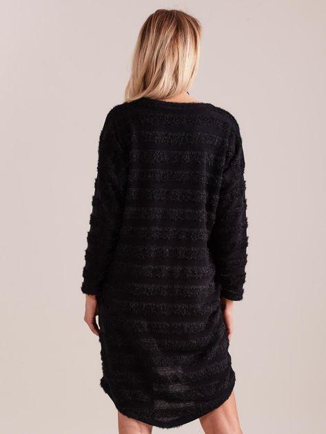 Czarna sukienka w paski                              zdj.                              5