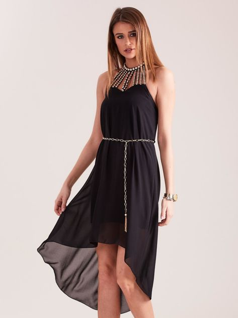 Czarna sukienka z aplikacją                              zdj.                              3