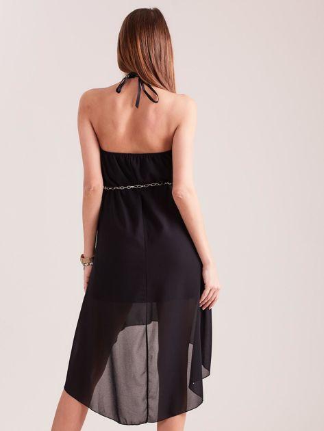SCANDEZZA Czarna sukienka z aplikacją                              zdj.                              3