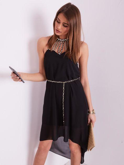 SCANDEZZA Czarna sukienka z aplikacją                              zdj.                              6