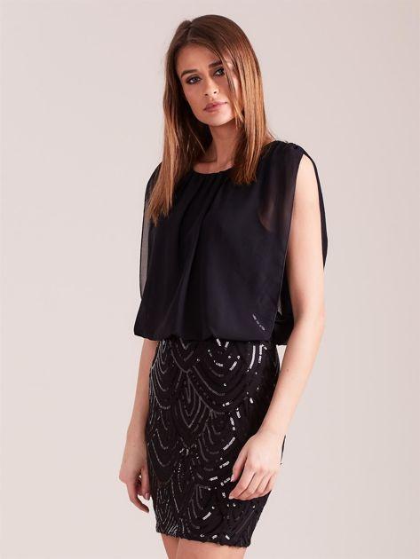 Czarna sukienka z cekinami                              zdj.                              4