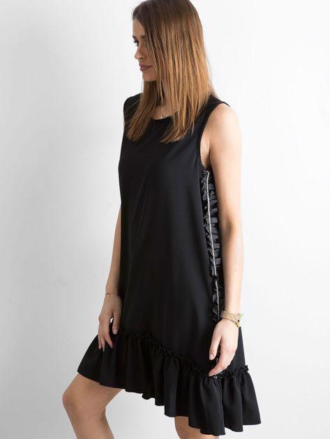 Czarna sukienka z falbaną                              zdj.                              3