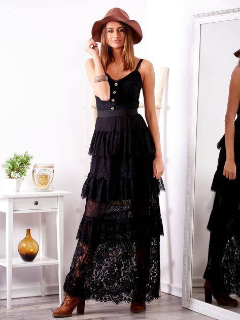 SCANDEZZA Czarna sukienka z falbanami                              zdj.                              5