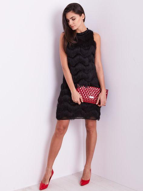 Czarna sukienka z frędzlami                               zdj.                              12