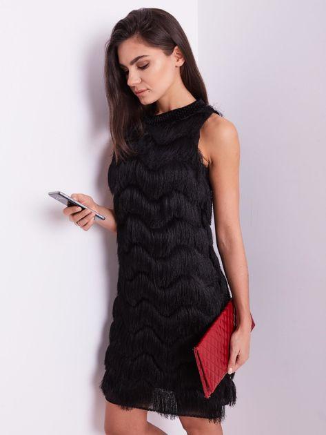 SCANDEZZA Czarna sukienka z frędzlami                               zdj.                              7