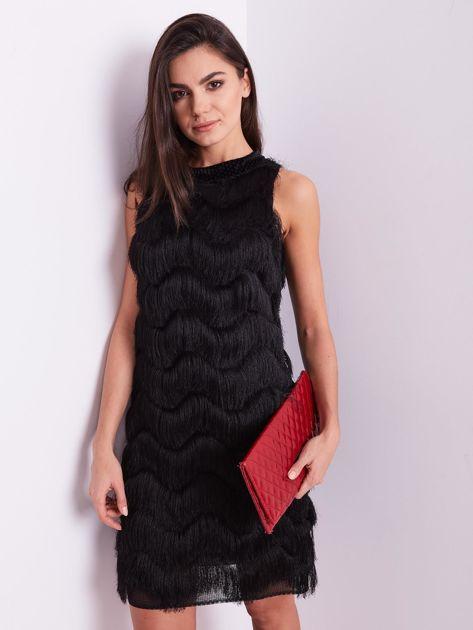 SCANDEZZA Czarna sukienka z frędzlami                               zdj.                              2