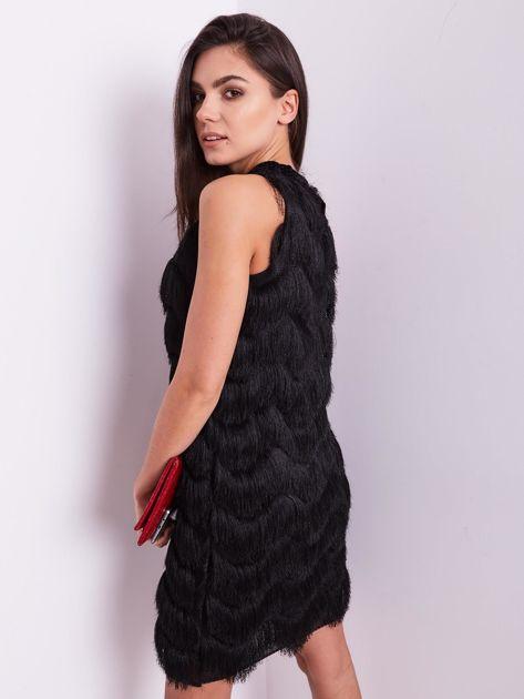 SCANDEZZA Czarna sukienka z frędzlami                               zdj.                              9