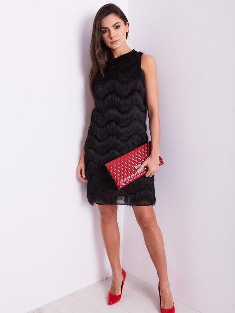 SCANDEZZA Czarna sukienka z frędzlami                               zdj.                              11