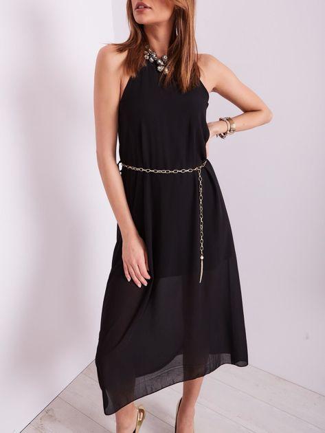 SCANDEZZA Czarna sukienka z ozdobnym dekoltem                              zdj.                              8