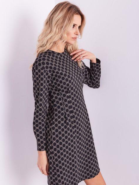 Czarna sukienka ze wzorem                              zdj.                              7