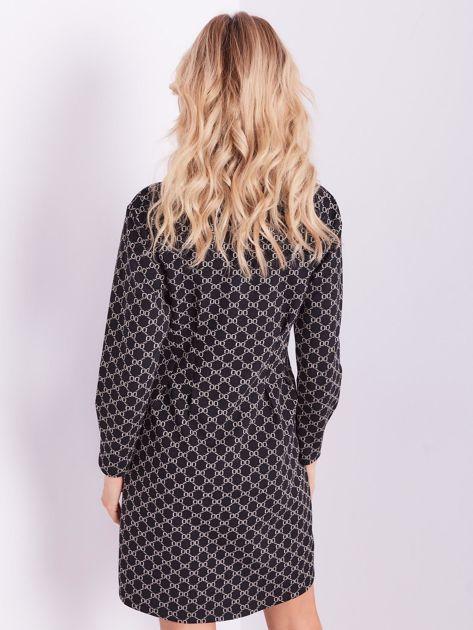 SCANDEZZA Czarna sukienka ze wzorem                              zdj.                              3