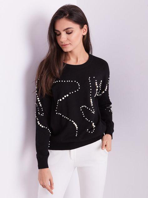 SCANDEZZA Czarny sweter z perełkami                              zdj.                              6