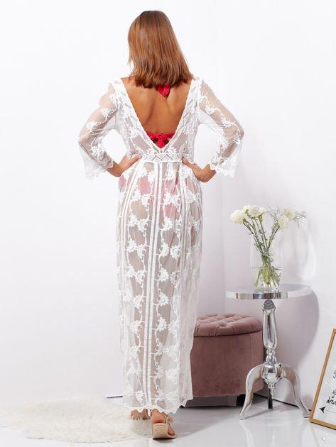 Ecru maxi sukienka plażowa z głębokim dekoltem                              zdj.                              2