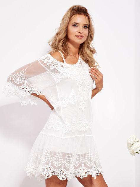 Ecru sukienka koronkowa z halką                              zdj.                              2