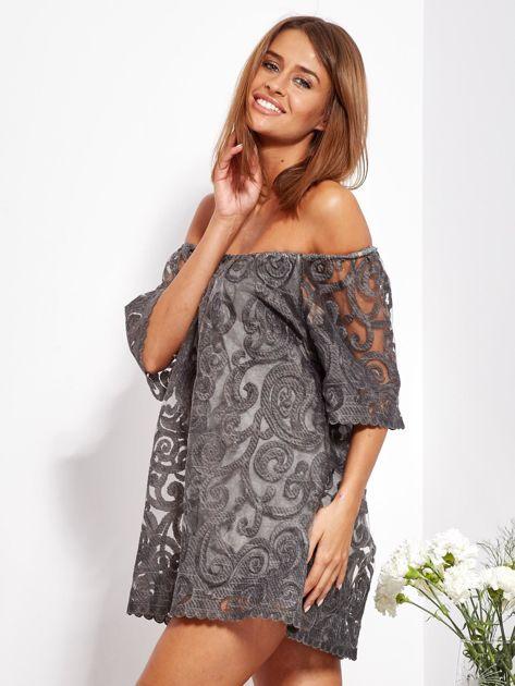 Grafitowa sukienka hiszpanka mini ze wzorem paisley                              zdj.                              4