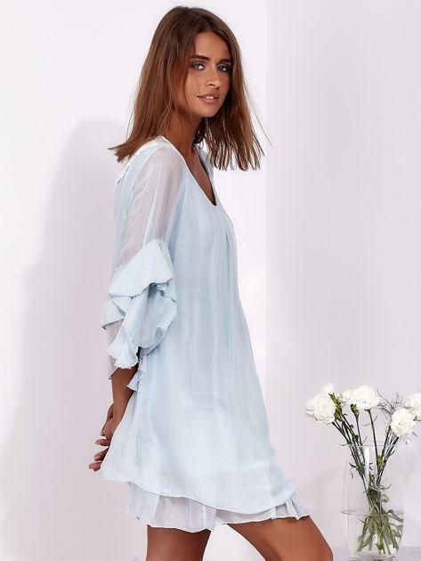 SCANDEZZA Jasnoniebieska zwiewna sukienka z hiszpańskimi rękawami                              zdj.                              5
