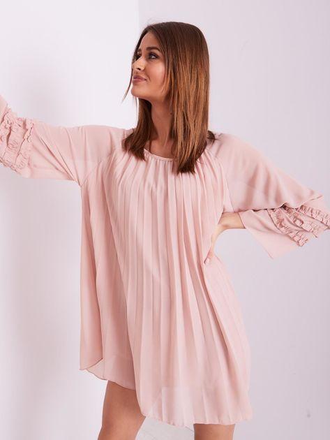 Jasnoróżowa plisowana sukienka                              zdj.                              8