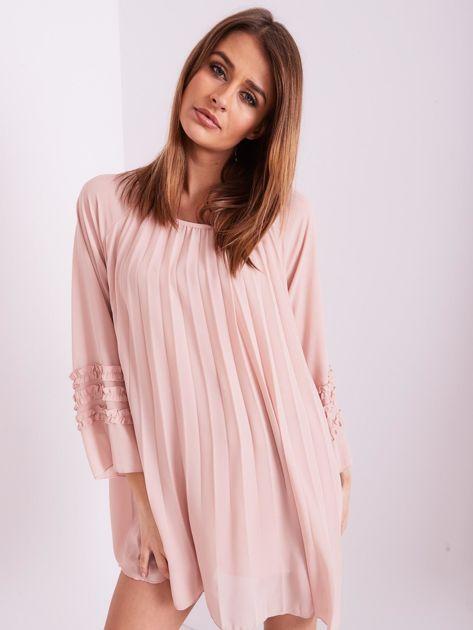 Jasnoróżowa plisowana sukienka                              zdj.                              3