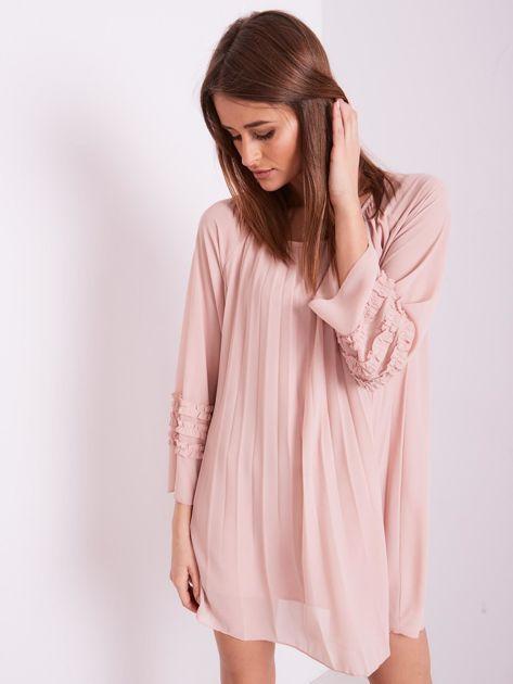 Jasnoróżowa plisowana sukienka                              zdj.                              6