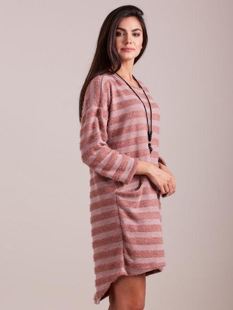 SCANDEZZA Jasnoróżowa sukienka w paski                              zdj.                              5