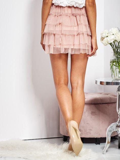 Pudroworóżowa mini spódnica z tiulem i falbanami                              zdj.                              7