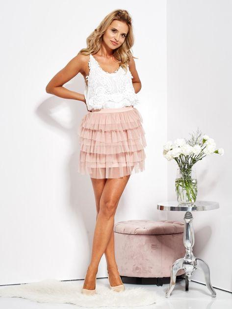 Pudroworóżowa mini spódnica z tiulem i falbanami                              zdj.                              10
