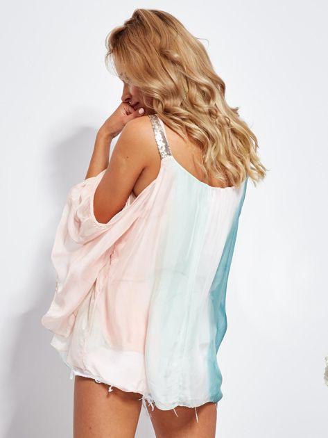 SCANDEZZA Różowo-zielona bluzka ombre bez ramion z cekinami                              zdj.                              6