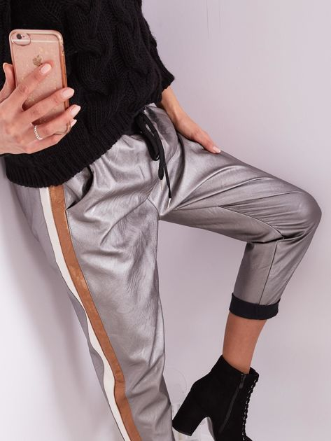 Srebrne skórzane spodnie                              zdj.                              2