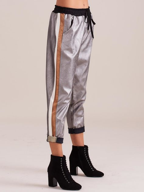 Srebrne skórzane spodnie                              zdj.                              5