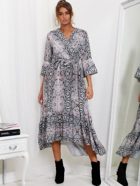 Szaro-różowa sukienka maxi z nadrukiem snake skin                              zdj.                              1