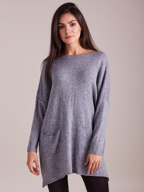 Szary długi sweter                              zdj.                              3