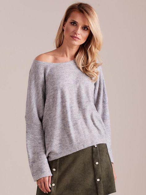 Szary dzianinowy sweter                              zdj.                              4
