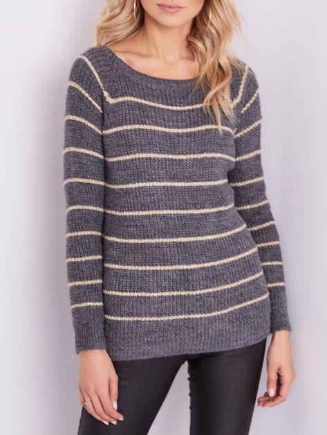 Szary sweter z błyszczącą nitką                              zdj.                              2