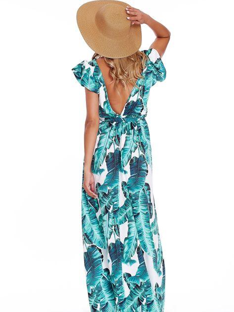 SCANDEZZA Zielona długa sukienka z nadrukiem liści                              zdj.                              2