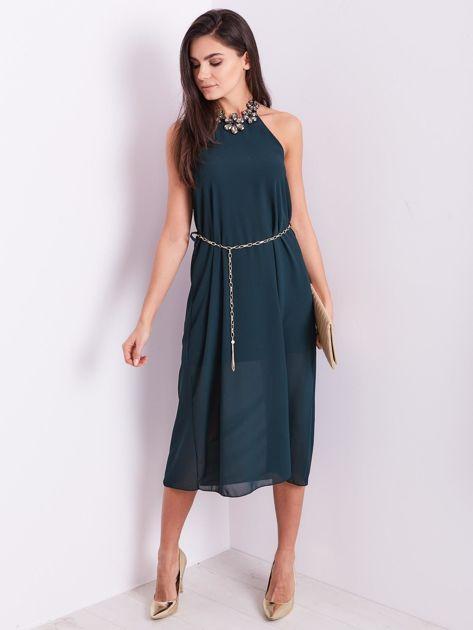 SCANDEZZA Zielona sukienka z ozdobnym dekoltem                              zdj.                              8