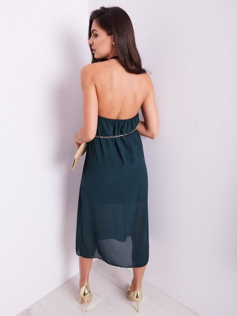 SCANDEZZA Zielona sukienka z ozdobnym dekoltem                              zdj.                              3