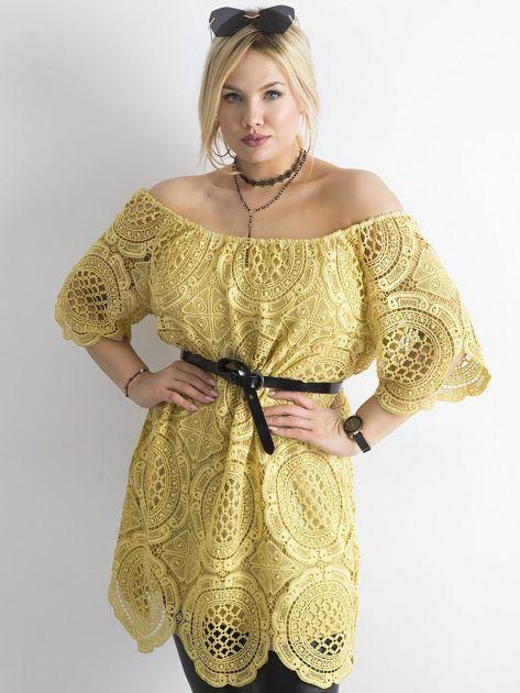 Żółta koronkowa sukienka hiszpanka                              zdj.                              5
