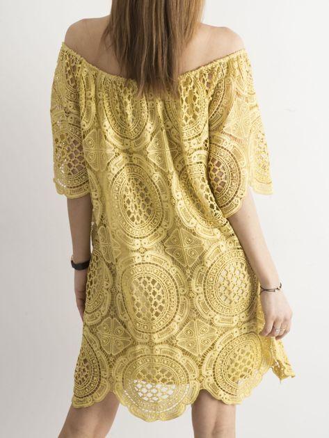Żółta koronkowa sukienka hiszpanka                              zdj.                              2