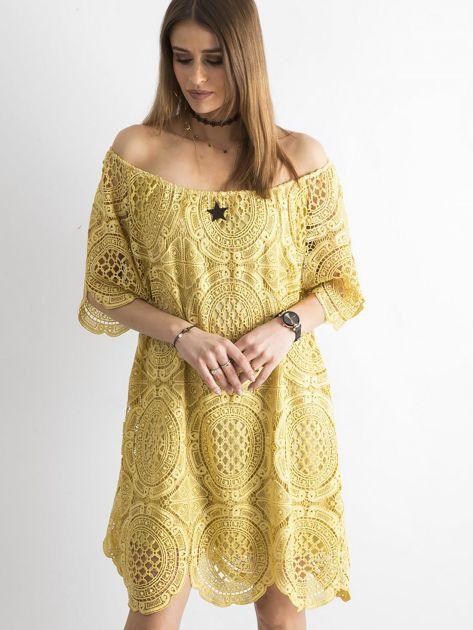 Żółta koronkowa sukienka hiszpanka                              zdj.                              1