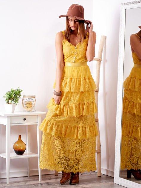 SCANDEZZA Żółta sukienka z falbanami                              zdj.                              1